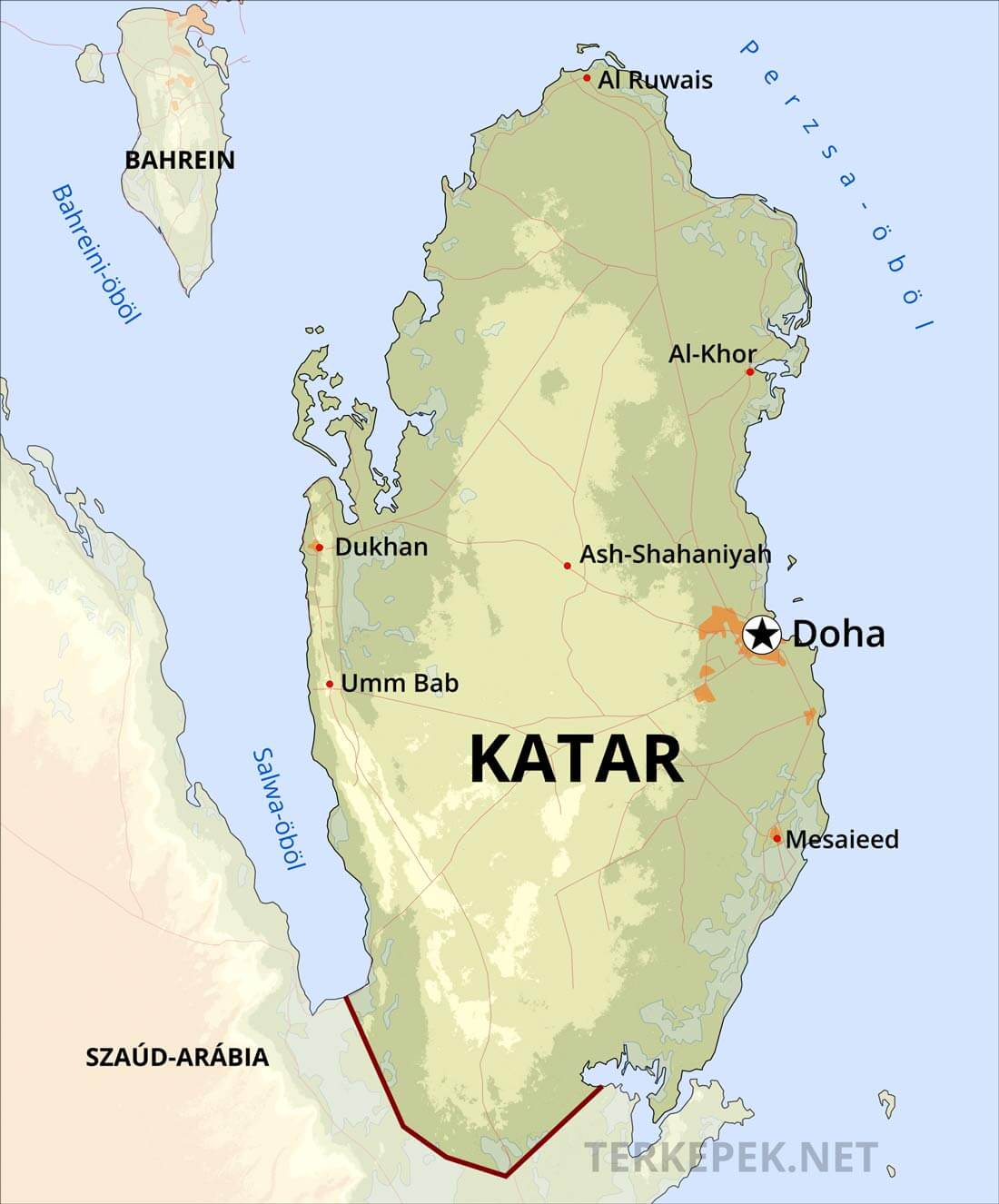 katar térkép Katar domborzati térképe katar térkép
